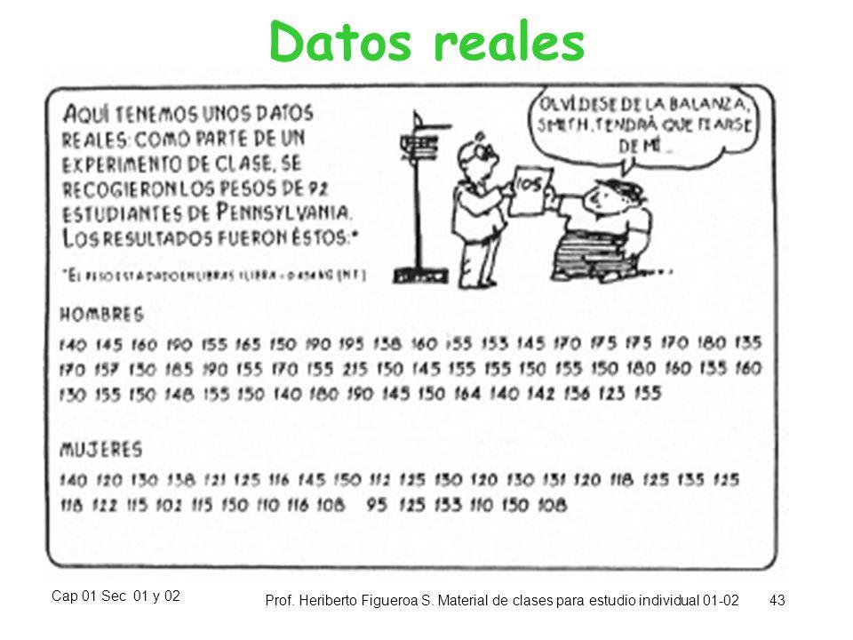 Datos reales Cap 01 Sec 01 y 02. Prof. Heriberto Figueroa S.