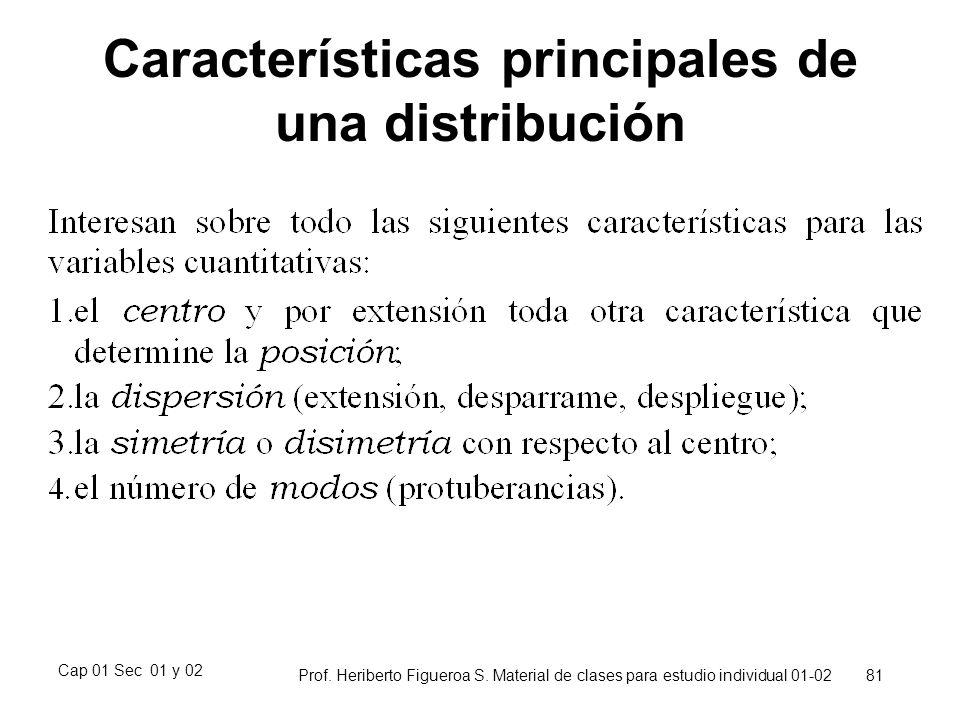 Características principales de una distribución