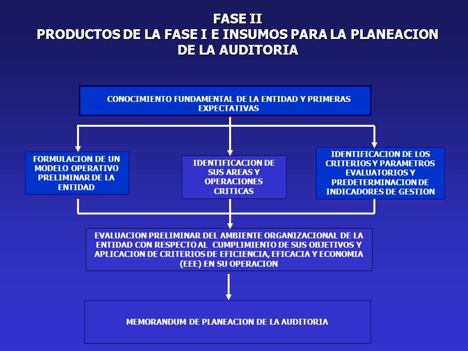 PRODUCTOS DE LA FASE I E INSUMOS PARA LA PLANEACION DE LA AUDITORIA