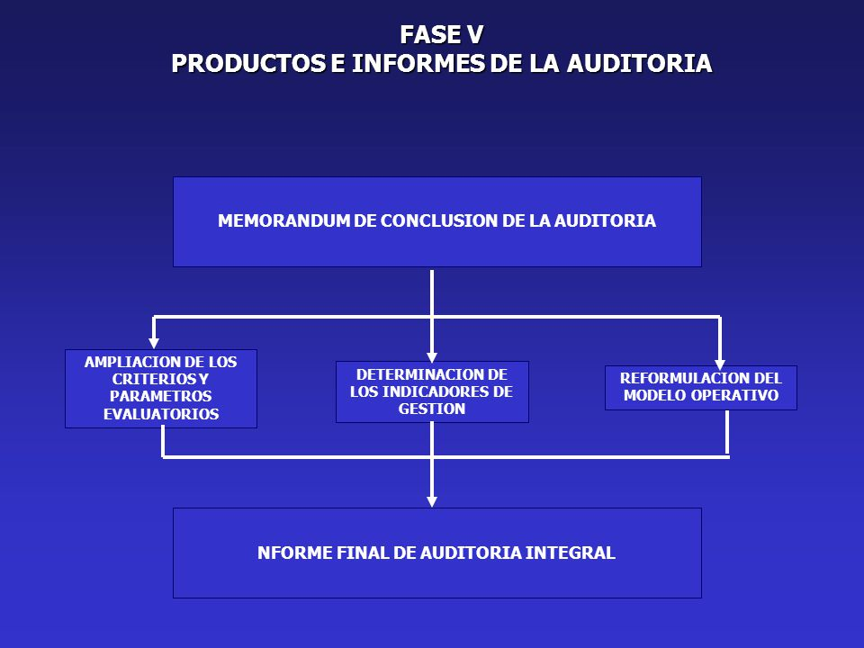 FASE V PRODUCTOS E INFORMES DE LA AUDITORIA