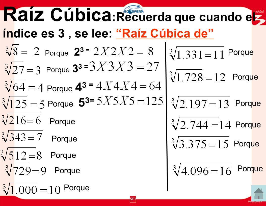 Raíz Cúbica:Recuerda que cuando el índice es 3 , se lee: Raíz Cúbica de