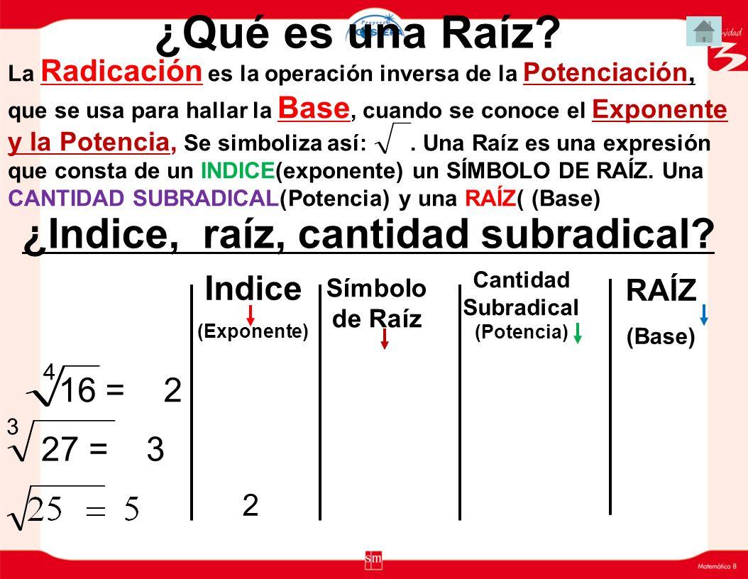 ¿Indice, raíz, cantidad subradical Cantidad Subradical(Potencia)