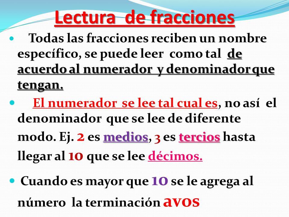 Lectura de fracciones Todas las fracciones reciben un nombre específico, se puede leer como tal de acuerdo al numerador y denominador que tengan.