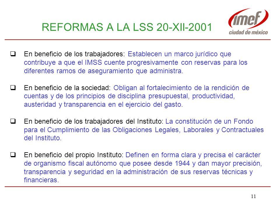 REFORMAS A LA LSS 20-XII-2001 En beneficio de los trabajadores: Establecen un marco jurídico que.