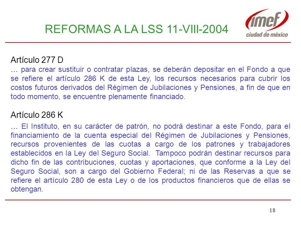 REFORMAS A LA LSS 11-VIII-2004