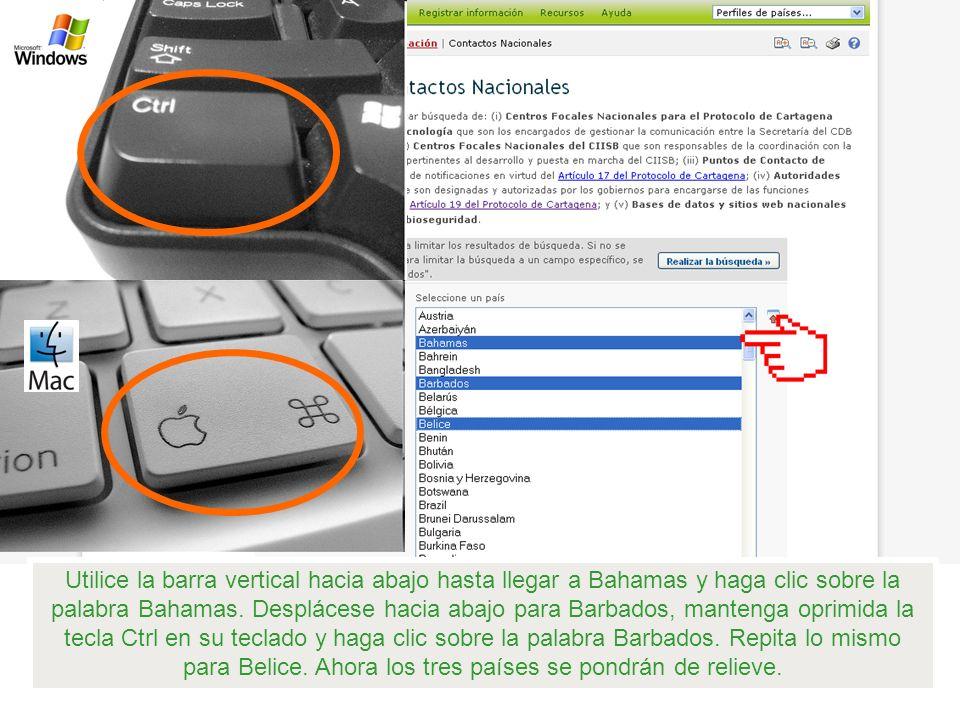 Utilice la barra vertical hacia abajo hasta llegar a Bahamas y haga clic sobre la palabra Bahamas.
