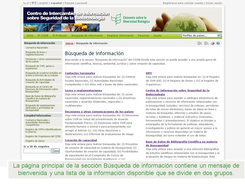 La página principal de la sección Búsqueda de información contiene un mensaje de bienvenida y una lista de la información disponible que se divide en dos grupos.