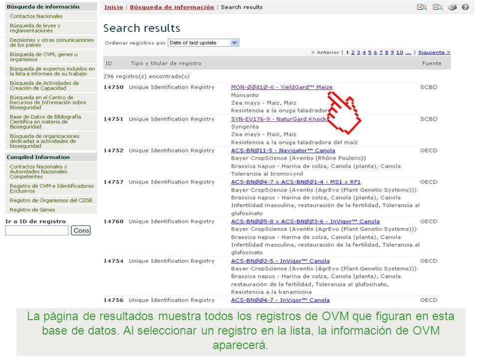 La página de resultados muestra todos los registros de OVM que figuran en esta base de datos.
