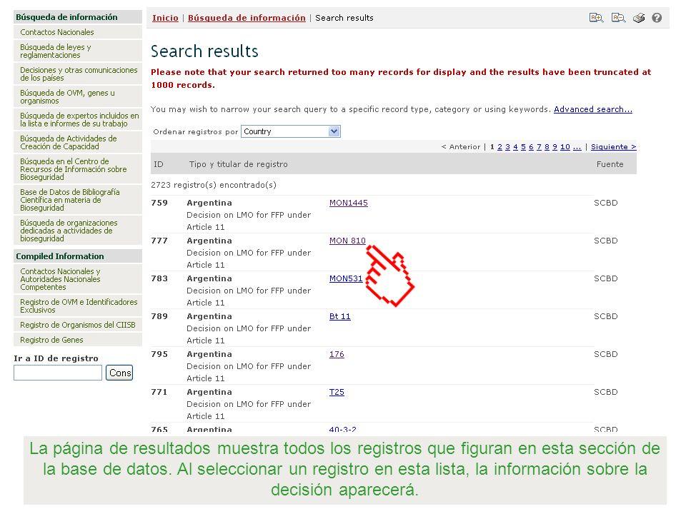 La página de resultados muestra todos los registros que figuran en esta sección de la base de datos.