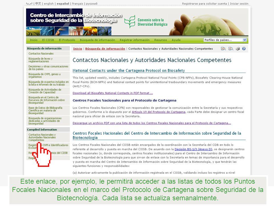 Este enlace, por ejemplo, le permitirá acceder a las listas de todos los Puntos Focales Nacionales en el marco del Protocolo de Cartagena sobre Seguridad de la Biotecnología.