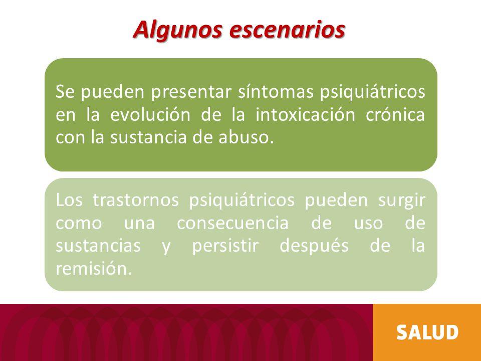 Algunos escenarios Se pueden presentar síntomas psiquiátricos en la evolución de la intoxicación crónica con la sustancia de abuso.