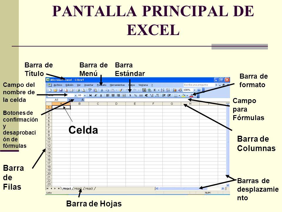 PANTALLA PRINCIPAL DE EXCEL