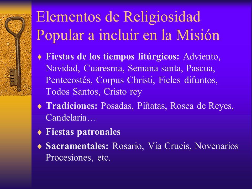Elementos de Religiosidad Popular a incluir en la Misión