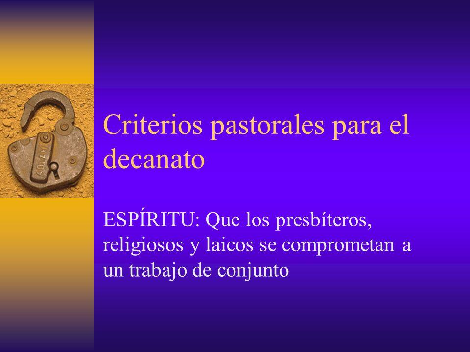 Criterios pastorales para el decanato