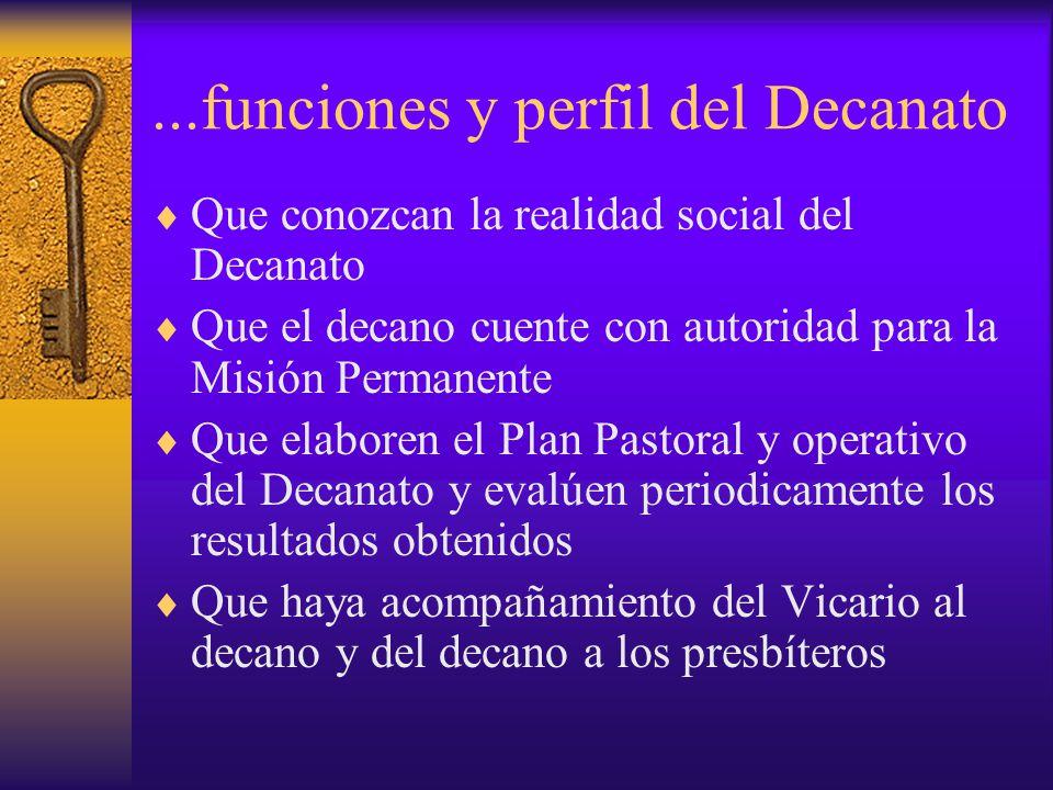 ...funciones y perfil del Decanato