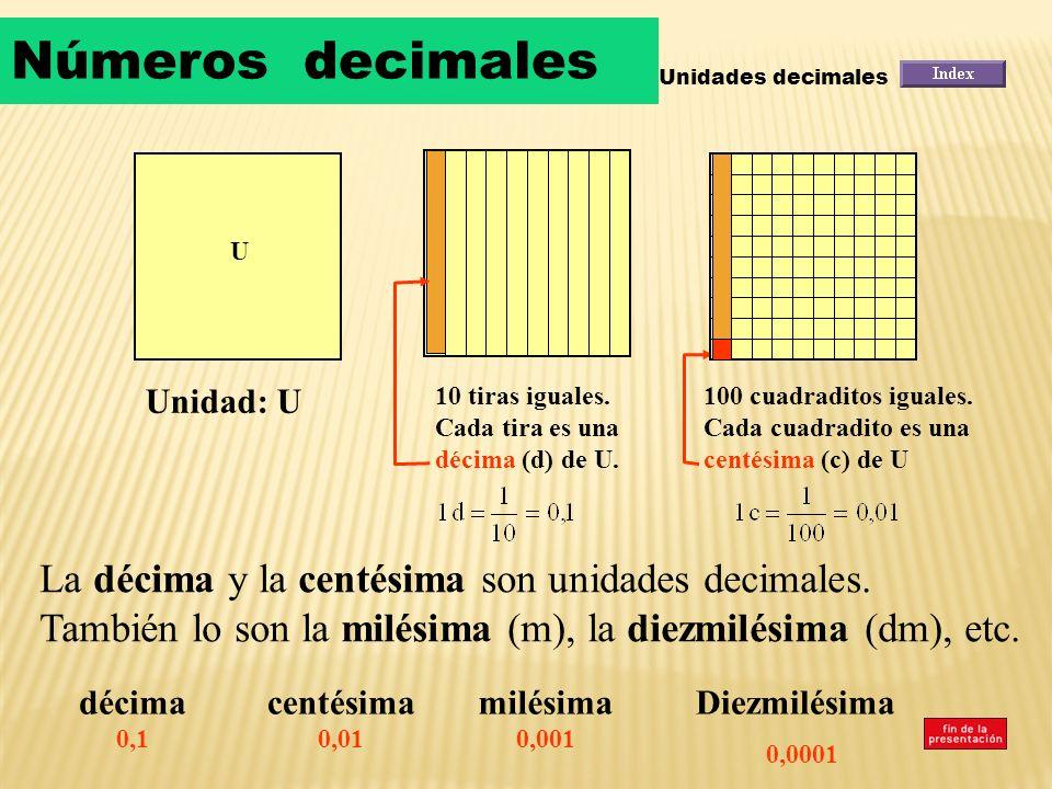 Números decimalesUnidades decimales. U. Unidad: U. 10 tiras iguales. Cada tira es una décima (d) de U.