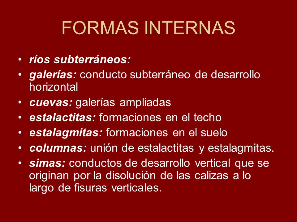 FORMAS INTERNAS ríos subterráneos: