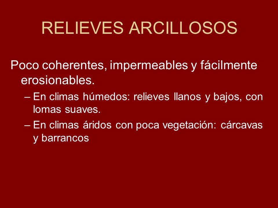 RELIEVES ARCILLOSOS Poco coherentes, impermeables y fácilmente erosionables. En climas húmedos: relieves llanos y bajos, con lomas suaves.
