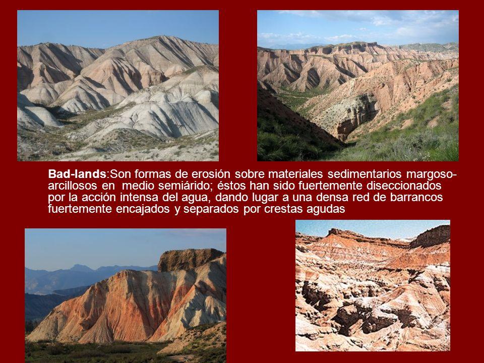 Bad-lands:Son formas de erosión sobre materiales sedimentarios margoso-arcillosos en medio semiárido; éstos han sido fuertemente diseccionados por la acción intensa del agua, dando lugar a una densa red de barrancos fuertemente encajados y separados por crestas agudas