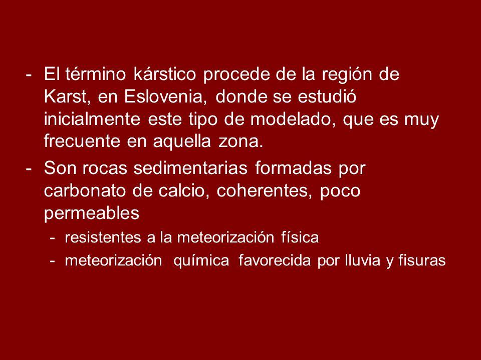 El término kárstico procede de la región de Karst, en Eslovenia, donde se estudió inicialmente este tipo de modelado, que es muy frecuente en aquella zona.