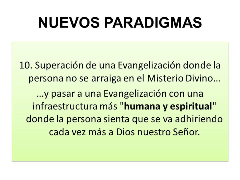 NUEVOS PARADIGMAS 10. Superación de una Evangelización donde la persona no se arraiga en el Misterio Divino…