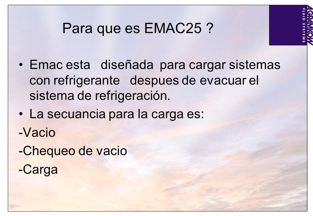 Para que es EMAC25 Emac esta diseñada para cargar sistemas con refrigerante despues de evacuar el sistema de refrigeración.