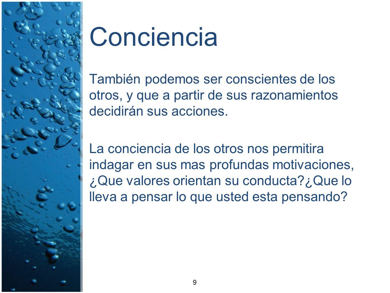 ConcienciaTambién podemos ser conscientes de los otros, y que a partir de sus razonamientos decidirán sus acciones.