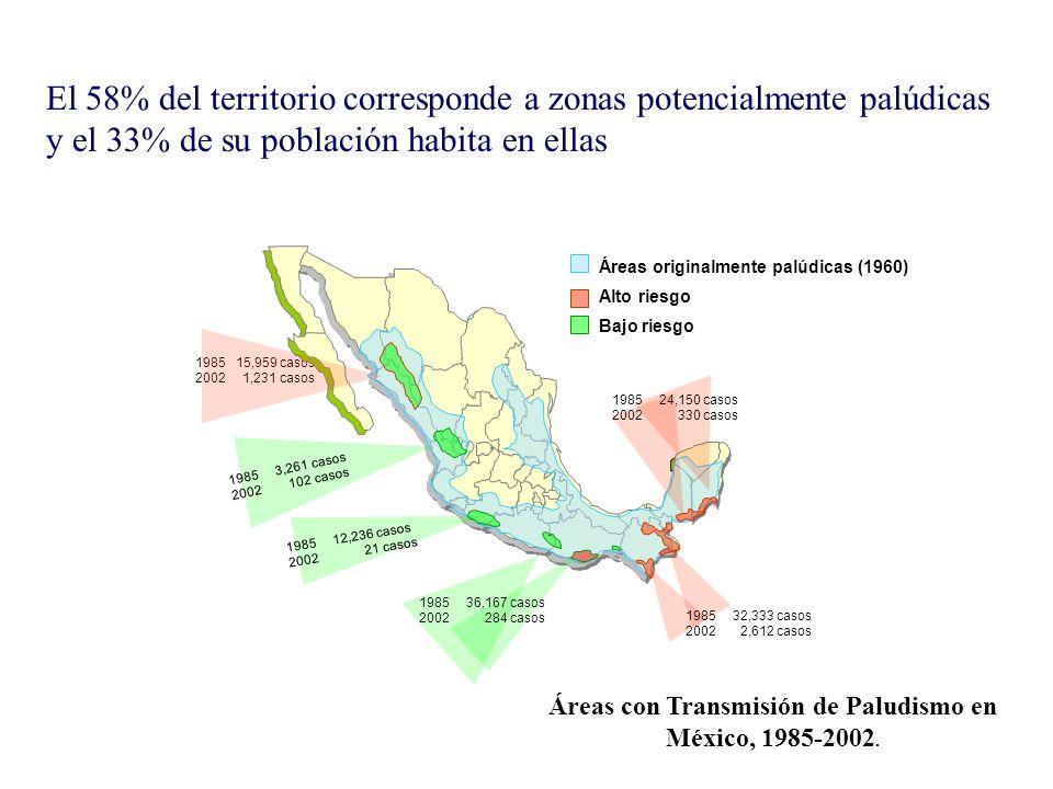 Áreas con Transmisión de Paludismo en México, 1985-2002.
