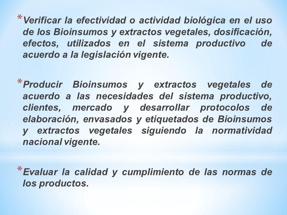 Verificar la efectividad o actividad biológica en el uso de los Bioinsumos y extractos vegetales, dosificación, efectos, utilizados en el sistema productivo de acuerdo a la legislación vigente.
