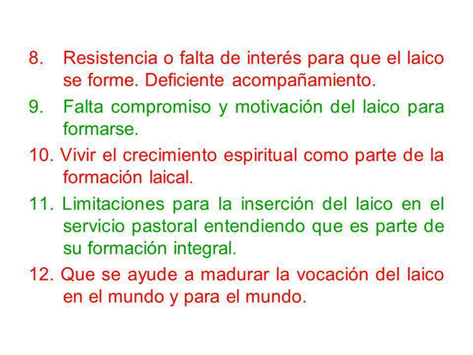 8. Resistencia o falta de interés para que el laico se forme