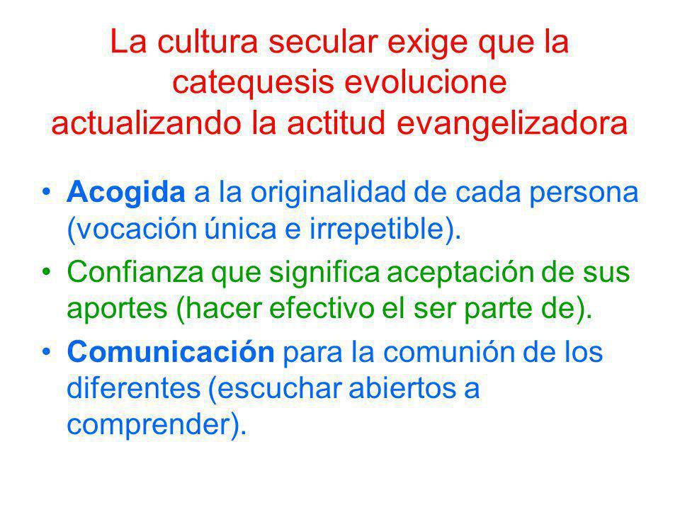 La cultura secular exige que la catequesis evolucione actualizando la actitud evangelizadora