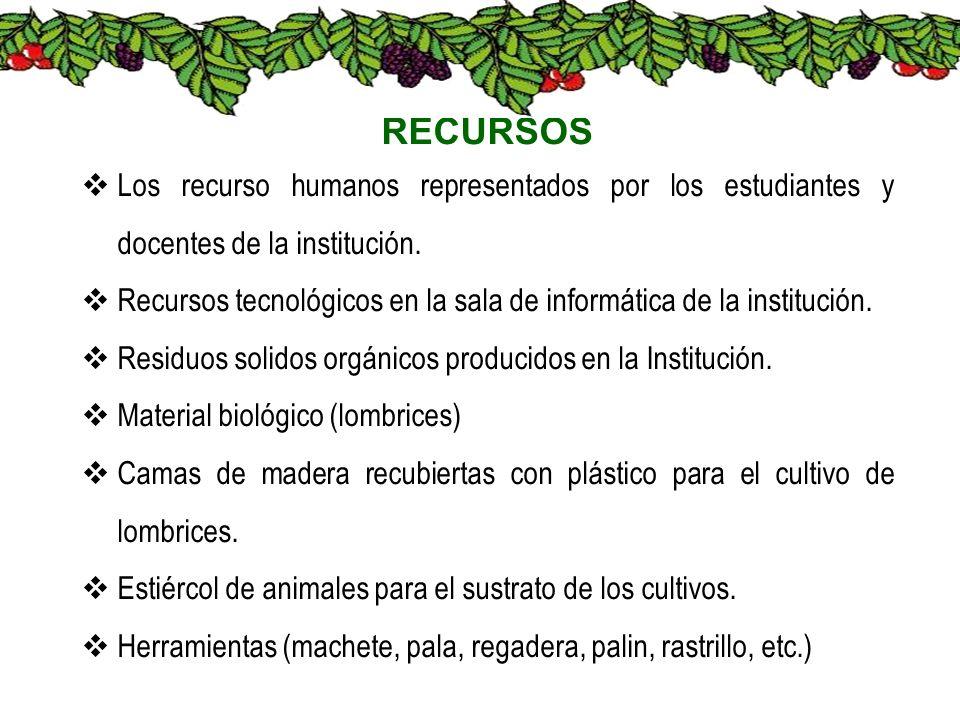 RECURSOS Los recurso humanos representados por los estudiantes y docentes de la institución.