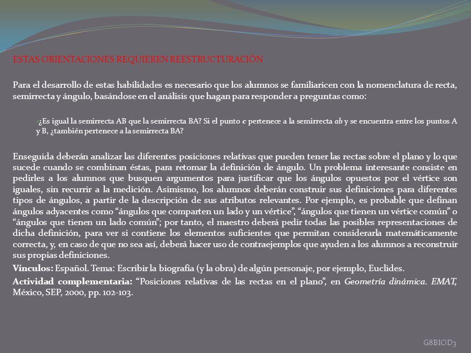 ESTAS ORIENTACIONES REQUIEREN REESTRUCTURACIÓN