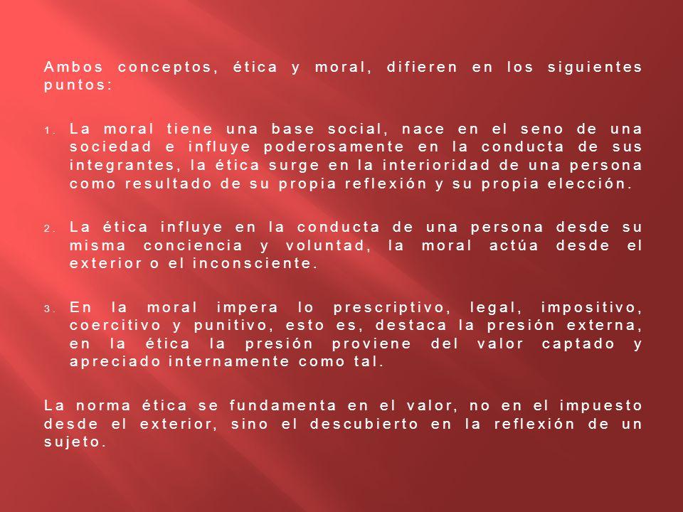 Ambos conceptos, ética y moral, difieren en los siguientes puntos: