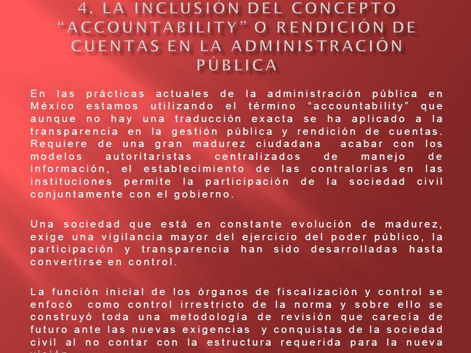 4. La inclusión del concepto accountability o rendición de cuentas en la administración pública
