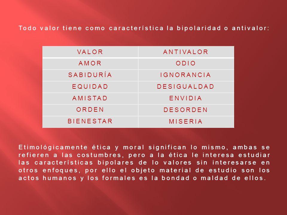 Todo valor tiene como característica la bipolaridad o antivalor: