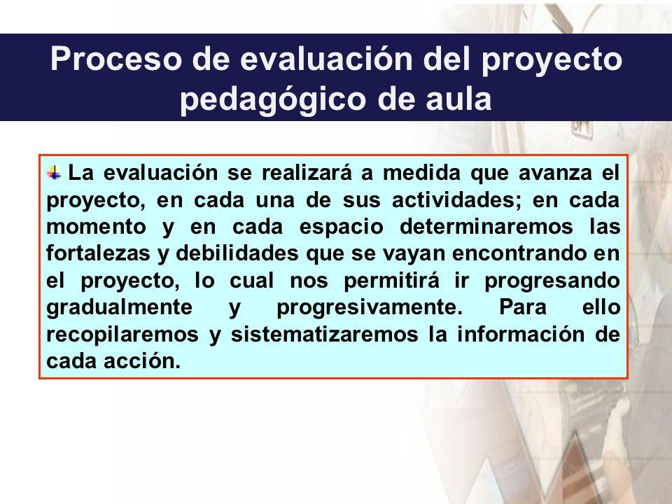 Proceso de evaluación del proyecto pedagógico de aula