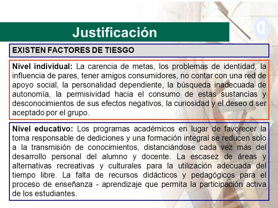 Justificación EXISTEN FACTORES DE TIESGO