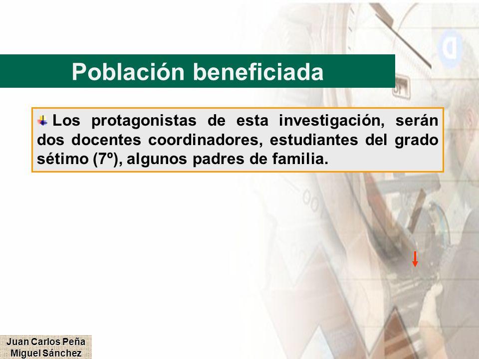 Población beneficiada Juan Carlos Peña Miguel Sánchez