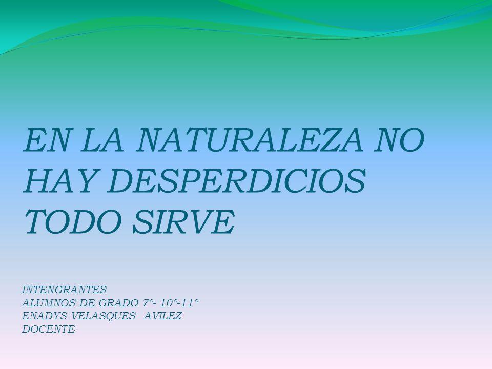 EN LA NATURALEZA NO HAY DESPERDICIOS TODO SIRVE INTENGRANTES ALUMNOS DE GRADO 7°- 10°-11° ENADYS VELASQUES AVILEZ DOCENTE