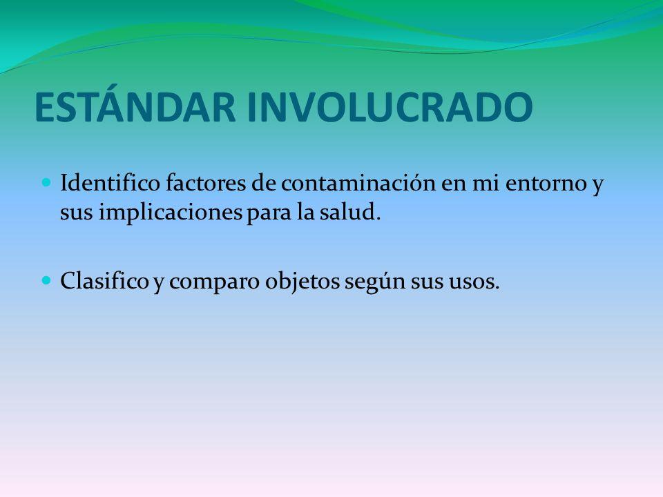 ESTÁNDAR INVOLUCRADO Identifico factores de contaminación en mi entorno y sus implicaciones para la salud.