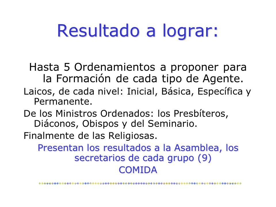 Resultado a lograr: Hasta 5 Ordenamientos a proponer para la Formación de cada tipo de Agente.