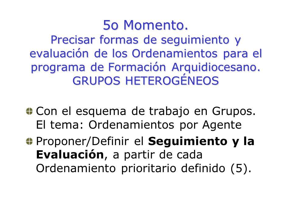 5o Momento. Precisar formas de seguimiento y evaluación de los Ordenamientos para el programa de Formación Arquidiocesano. GRUPOS HETEROGÉNEOS