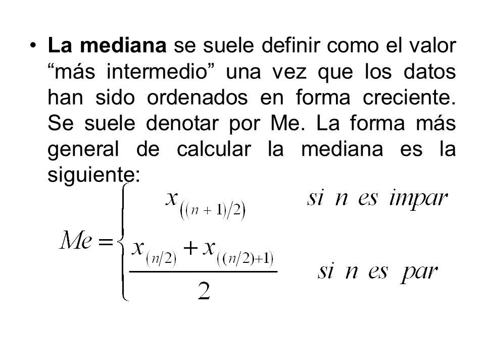 La mediana se suele definir como el valor más intermedio una vez que los datos han sido ordenados en forma creciente.
