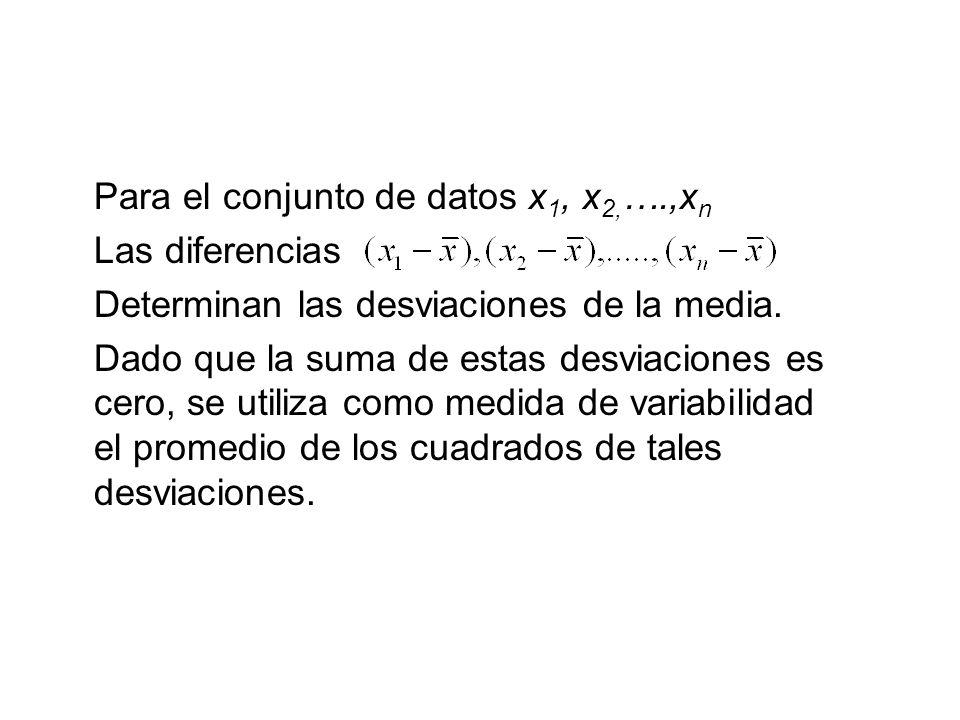 Para el conjunto de datos x1, x2,….,xn
