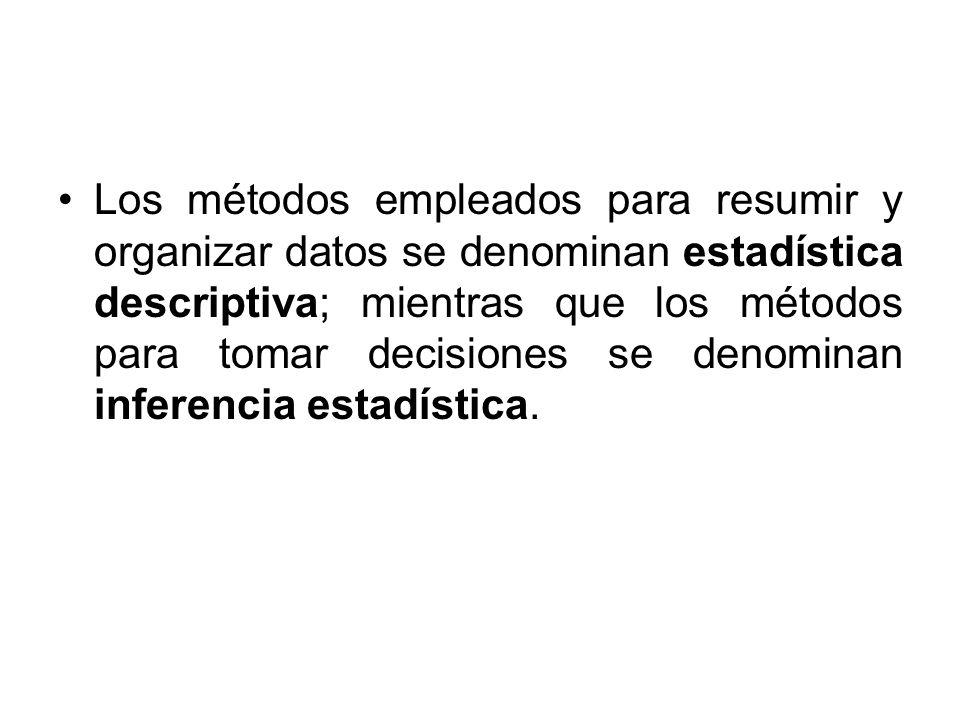 Los métodos empleados para resumir y organizar datos se denominan estadística descriptiva; mientras que los métodos para tomar decisiones se denominan inferencia estadística.