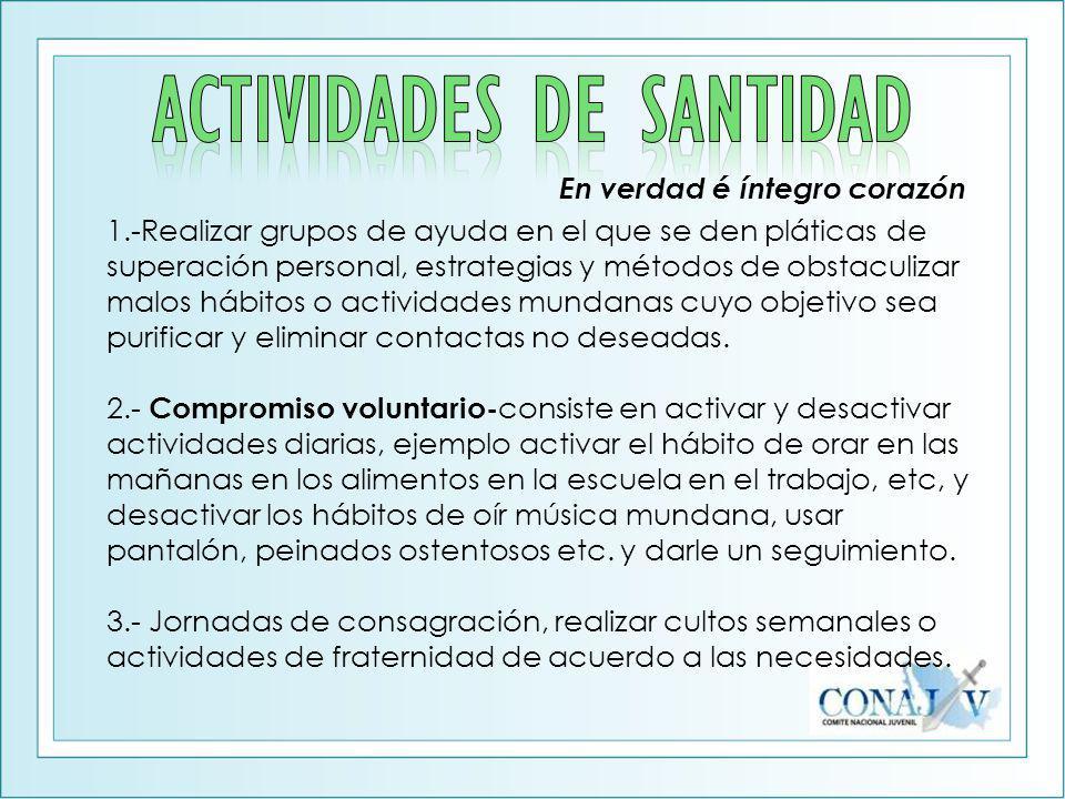 ACTIVIDADES DE SANTIDAD
