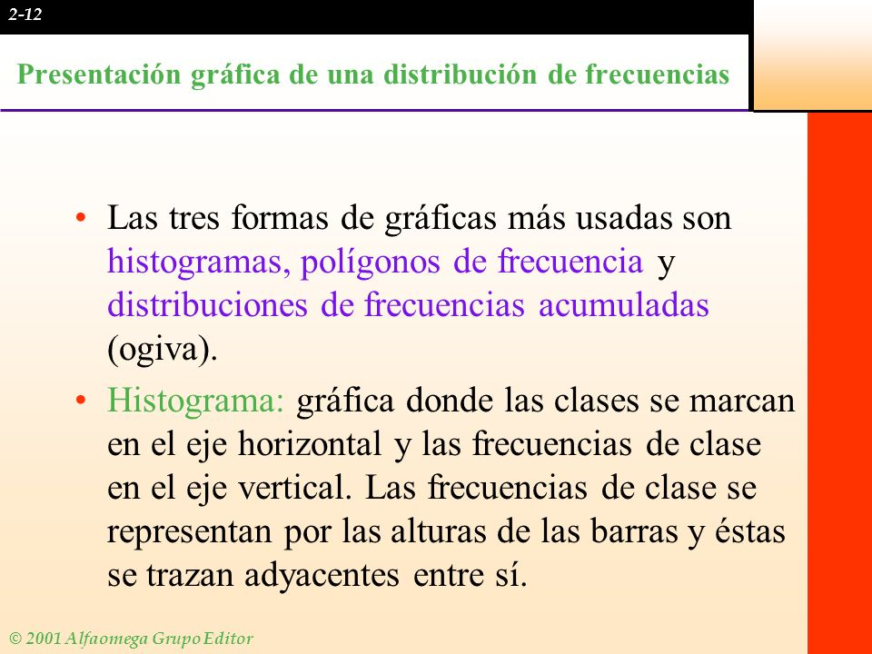 Presentación gráfica de una distribución de frecuencias