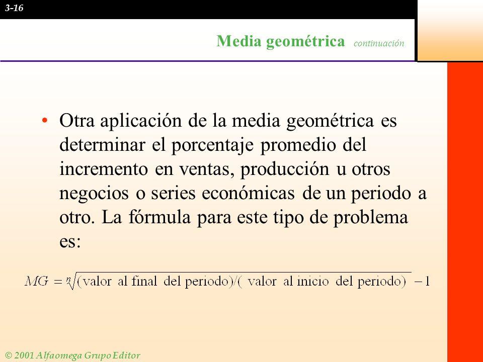 Media geométrica continuación