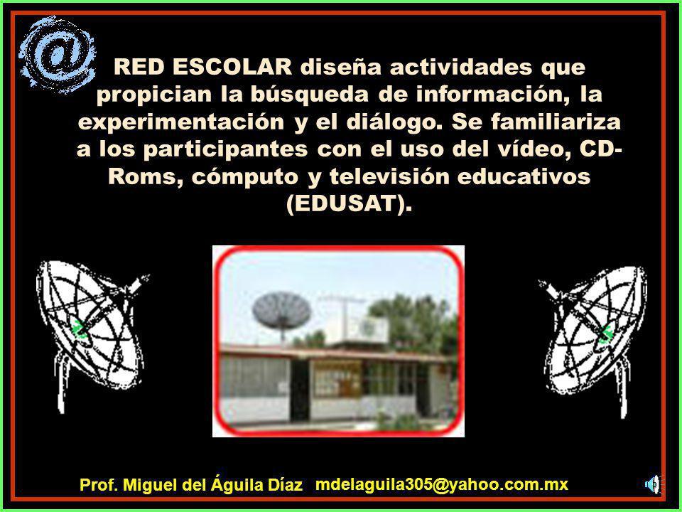 RED ESCOLAR diseña actividades que propician la búsqueda de información, la experimentación y el diálogo. Se familiariza a los participantes con el uso del vídeo, CD-Roms, cómputo y televisión educativos (EDUSAT).